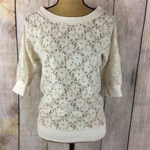 Miss Chievous Ivory Sheer Lace Wide Neck Top Sz M